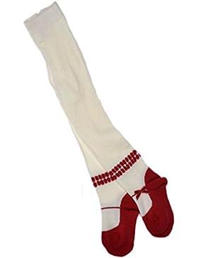 calzemaglia crema e rosse con fiocco di velluto rosso. Varietà di taglie