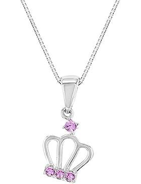 In Season Jewelry Kinder Mädchen - Halskette Königin Prinzessin Krone 925 Sterling Silber Rosa CZ Zirkonia 40cm