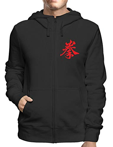 Sweatshirt Hoodie Zip Schwarz TAM0087 Kenpo Kanji Kanji-zip Hoodie