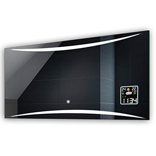 FORAM Anpassen Design Badspiegel mit LED Beleuchtung - Individuell Nach Maß mit Schalter zu Wählen und Zubehör - Beleuchtet Wandspiegel Lichtspiegel Badezimmerspiegel A++ Kaltweiß Warmweiß Modell L78