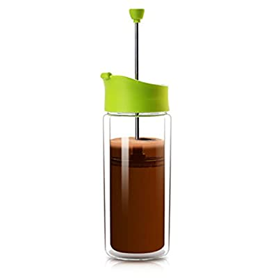 Bulletproof Coffee Maker and Travel French Press Frother for Bullet Proof Coffee, Platinum Tea, Keto Hot Chocolate, Caveman Collagen Latte and Cappuccino - Double Wall Glass FrenchPress and Filter