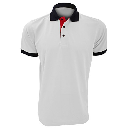 Kustom Kit Contrast Herren Polo-Shirt, Kurzarm Gelb/Marineblau/Rot