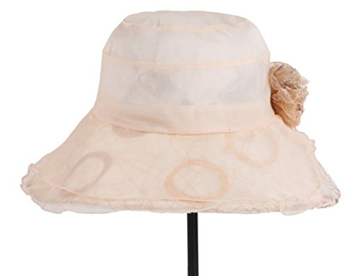 Chapeaux De Soie Dames été Chapeau De Soleil Crème Solaire Pliable Léger Dôme De Chapeau à Large Bord Beige