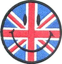 Aufnäher, am Iron on Patch Smiley Face British Union Jack Flagge