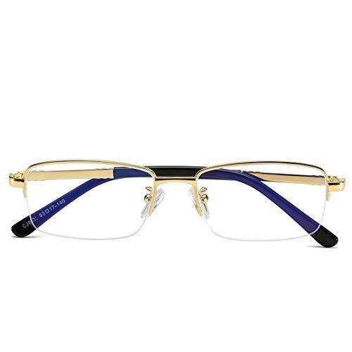 Ovesuxle Anti-Blaue Gläser der Geschäftsmänner und der Frauen metallieren halbe Rahmengläser, die Blaue Lichtgläser Antillen (Color : Gold)