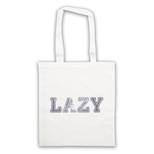 Lazy Funny Slogan Tote Bag Bianco