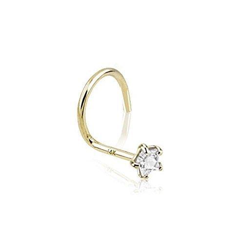 Paula & Fritz®, GDQ-05, piercing per il naso in oro vero, 14 carati, con zircone a forma di stella e Oro giallo, colore: trasparente, cod. GDQ-05_C
