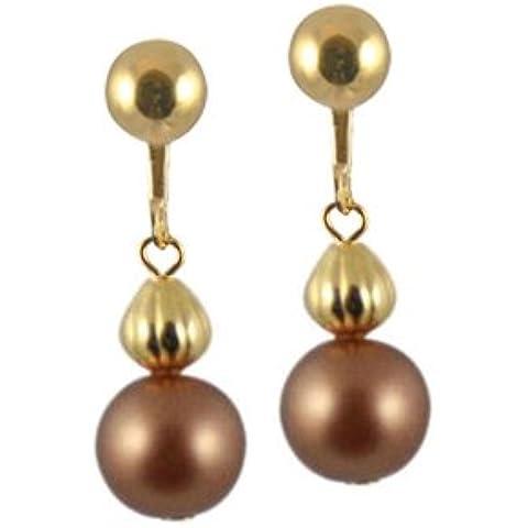 Solitario de porcelana perlas en pendientes con tornillo (dorado) con la caja de regalo