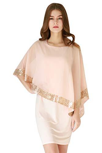 YMING Damen Chiffon Kleid Sommerkleid Bleistiftkleid Elegante Fifurbetontes Kleid Übergröße,Rosa,XXL/DE 44-46