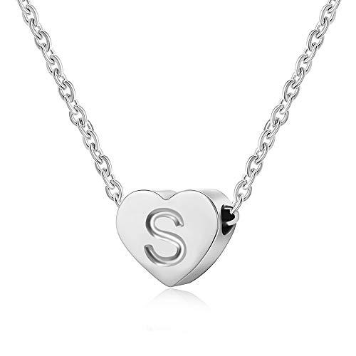 AFSTALR Collar Plata Corazón para Mujer Inicial Alfabeto corazón Colgante Collar Delicado Collar Personalizado