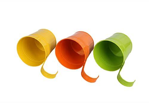 Metall-Blumentopf-Eimer zum Aufhängen, Übertopf mit Abflussloch, mit abnehmbarem Haken, für Garten / Balkon / Wohndekor (10Stück im Sortiment in 10Farben)