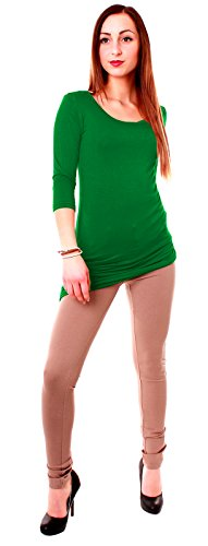 Easy Young Fashion Damen Basic Shirt Longshirt Halbarm Rundhals uni Grün
