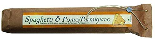 Spaghetti & Pomo/Parmigiano – Gourmet Geschenk – Spaghetti mit fertiger Saucen Mischung (560g) – zum Kochen oder Verschenken – von Feuer & Glas Glas-sauce-gerichte