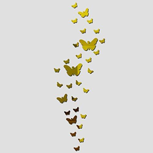 PETSOLA Mode Neue 3D Spiegel DIY Wandhauptabziehbild Wanddekor Kunststoff Kunst Aufkleber - 30× Schmetterling-Gold -