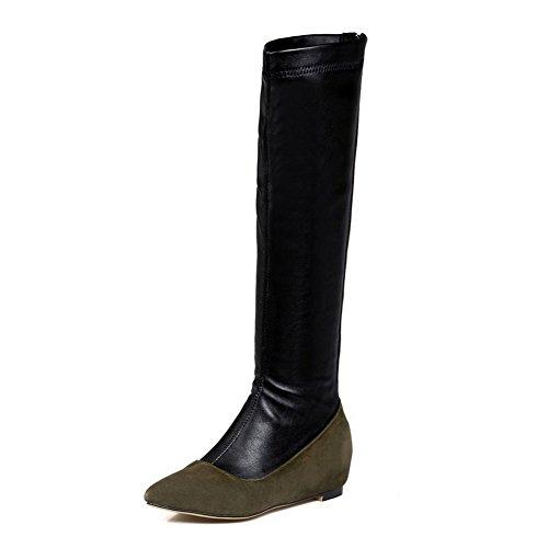 erschluss Hoch-Spitze Blend-Materialien Spitz Zehe Mittler Absatz Stiefel, Grün, 34 (Halloween-kostüme Uk Online Kaufen)