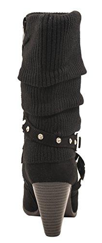 Elara Damen Stiefeletten | Trendige Stulpen Stiefel | Reiterstiefel Trichterabsatz | Gefüttert | chunkyrayan Schwarz Wildleder