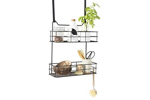 LIFA LIVING Türregal zum Einhängen, Hängekorb für Bad und Küche 2 Ablagen, Hängeregal für Küche und Bad, Schwarz Metall, 35 (B) x 15 (T) x 40 (H) cm