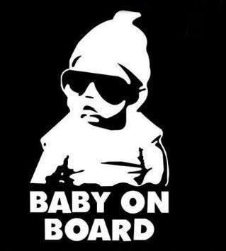 leso© Baby on Board Car Voiture Sticker Gris réfléchissant S024
