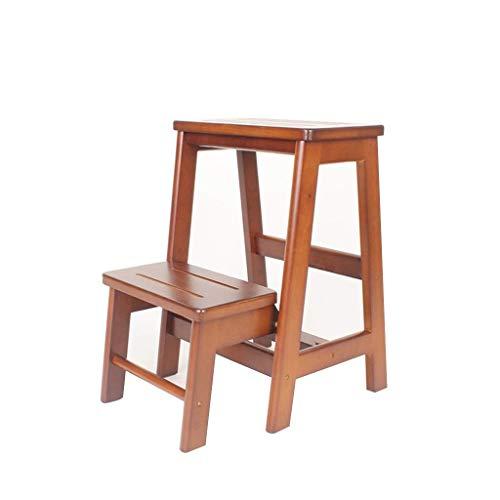Ibuprofen Leitertreppen Klappbarer Tritthocker Trittleiter Klapphocker Massivholz-Tritthocker Mehrzweckhaus 3-Stufen-Leiter, Brown, Two-Tiered Ladder