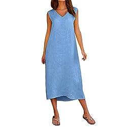 Sommerkleid Damen Lose Casual Strandkleid Ärmellos Mini T-Shirt Kleid Rundhals Kleider Kleider Damen Sommer Elegant Knielang Festlich Strand Rockabilly