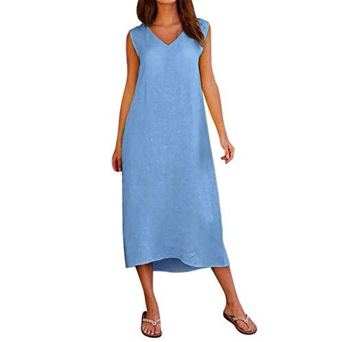 Kostüm Avenue Belle Leg - UYSDF Damen Sommer Ärmellos V-Ausschnitt Baumwolle Leinen Beiläufig Lange Maxi Strand Kleid 2019