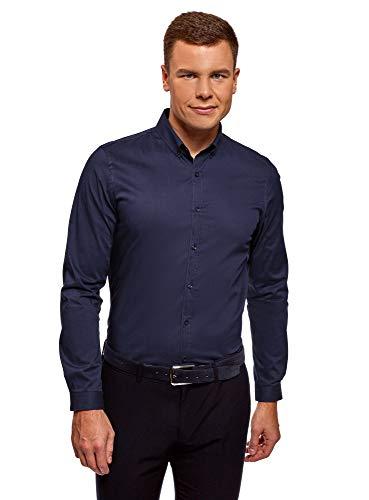 extra slim fit hemden oodji Ultra Herren Tailliertes Hemd Extra Slim Fit Basic, Blau, Herstellergröße 42 (Kragenweite 42 cm)/ DE 42 / L