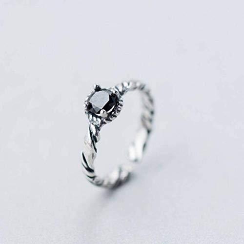 Elegant Dress-rings S925 Silber Ring Weibliche Mode Persönlichkeit Thai Silber Twist Black Diamond Ring Temperament Trend Ring Weiblich, Offener Ring einstellbar
