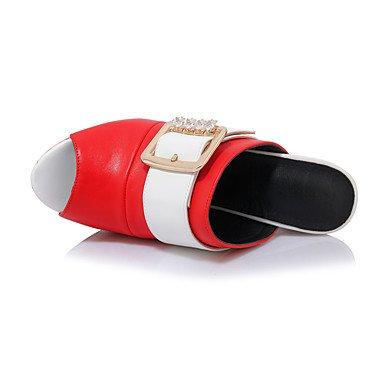 LvYuan Da donna-Sandali-Matrimonio Formale Serata e festa-Club Shoes-Quadrato-Finta pelle-Nero Rosso Bianco Red