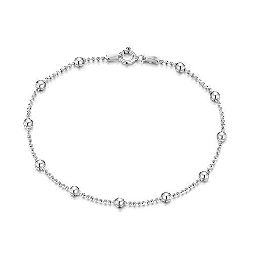 Amberta 925 Sterlingsilber Armkette – Diamantierte Kugelkette mit größeren Kugel Armband – 1.1 mm Breite – Verschiedene Längen: 18 19 20 cm