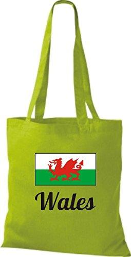 ShirtInStyle Stoffbeutel Baumwolltasche Länderjute Wales Farbe Pink limegreen