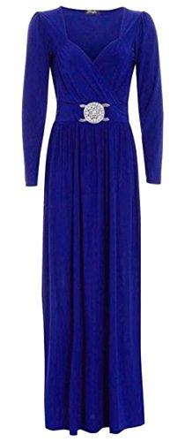 Damen Langarm, langärmelig, Cocktail-Motiv, Maxi-Kleid, lang, mit