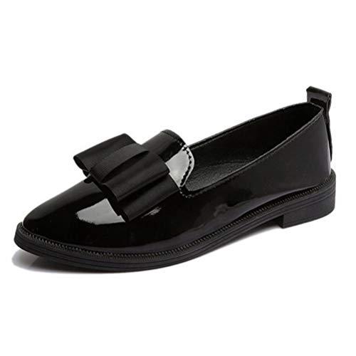 Frauen Wohnungen Schuhe Bowtie Loafers Lackleder Elegante Low Heels Slip on Spitze Zehe Dicke Ferse Schuhe