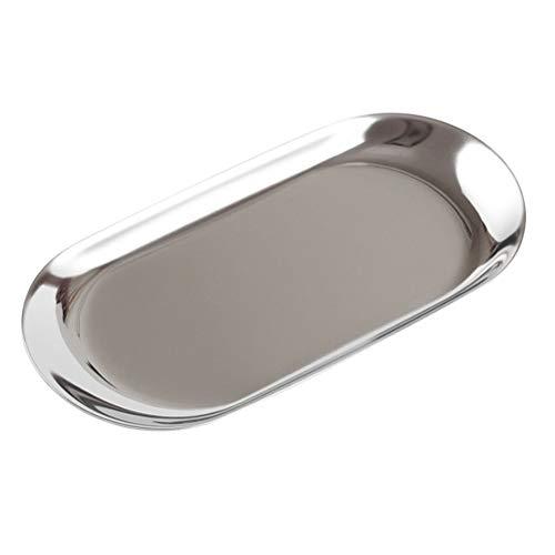 BESTONZON Nordischen Stil Oval Schmuck Aufbewahrung Tablett Edelstahl Snack Tablett Metall Lagerung Home Organizer (Klein, Silber)