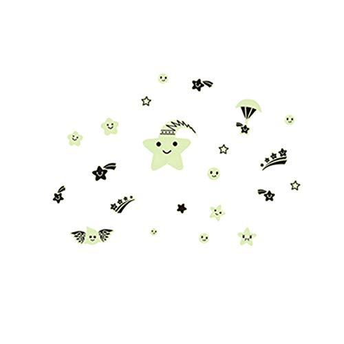 lzdyaya Lächeln Sterne Die Sterne Leuchtende Fluoreszenz Aufkleber Kinderzimmer Schlafsaal Schmuck Wand Stick A Permanent Glow