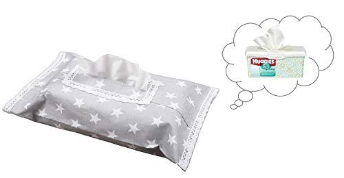 Vizaro - HÜLLE für Baby Feuchttücherbox/Pflegetücher/Mäpchen - der Handtücherschachtel - 100% REINE BAUMWOLE - Made in EU - ÖkoTex - SICHERES PRODUKT - K. Weiße Sternchen