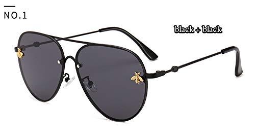 WWVAVA Sonnenbrillen Luxus Biene 2019 Pilot Sonnenbrille Frauen Mode Shades Metallrahmen VintageMarke Brille Männer Designer Männlich Weiblich, c3