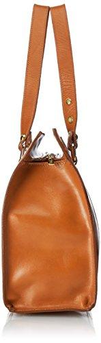 CTM Bag Frau Klassische, 38x27x12cm, echtes Leder 100% Made in Italy Orange (Cuoio)