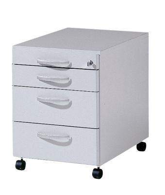 BASIC-II Büro-Rollcontainer – 3 Materialschübe, Tiefe 600 mm – officegrau – BASIC II Beistellschrank Untertischcontainer Rollcontainer für Büro Sandro II Büromöbelprogramm Unterstellschrank