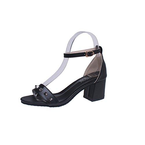 Ms mode rivet sandales peep-toe/Bouton de Joker loisirs été cales chaussures B