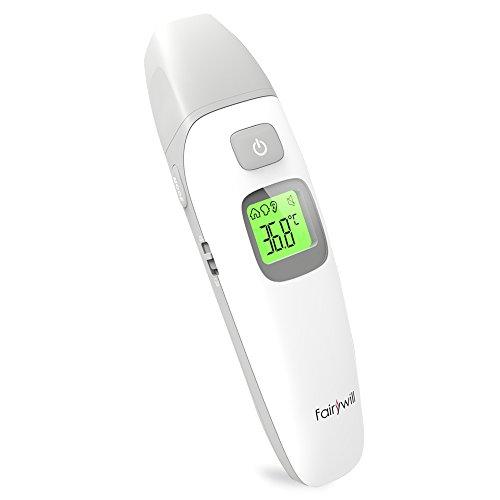 Fieberthermometer,Ohrthermometer,Stirnthermometer,Infrarot thermometer mit Fieberwarnung und Stiller Modus Professional für Babys,Kinder,Erwachsene und Objekt 3 Modi 1 Sek. Messzeit von Fairywill