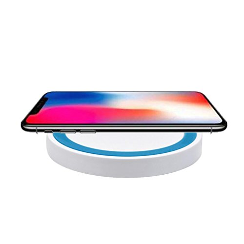 Price comparison product image For iPhone 8 / X Wireless Charging Pad, Wyurhjh® Fast Powerful Wireless Charger for Samsung Galaxy Note8 / Note5 / S8 / S8 Plus / S7 / S7edge / S6 / S6Egde and Other Qi Anable Devices (blue)