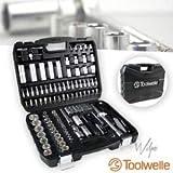 TOOLWELLE Steckschlüsselsatz Mini Ratschen Set Werkzeugset 108 Stück mit 72 Zähnen Ratsche