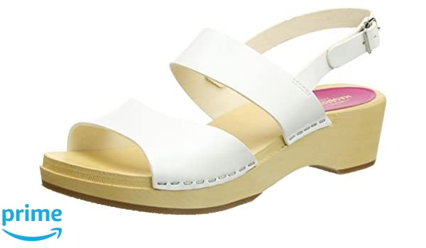 Swedish Hasbeens Helena, Sandales Bout Ouvert Femme, (White), 39 EU