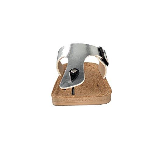 BRANDSSELLER Elegante und Exklusive Damen Schuhe Zehenpantolette Zehentrenner Freizeitschuh Strandschuh - mit Korkfußbett - Farben: Silber, Gold, Creme - Größen 36 - 41 Silber