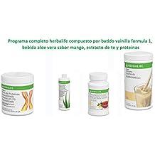 Programa completo herbalife compuesto por batido vainilla formula 1, bebida aloe vera sabor mango,