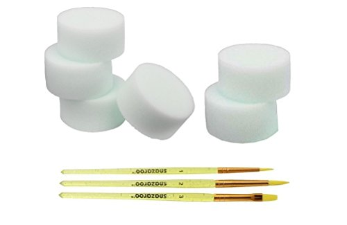 Snazaroo Pack of 6 Face Paint High Density Sponges & Pack Of 3 Starter Brushes Set
