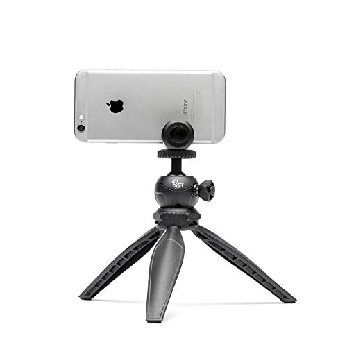 pixter-trepied rígida-Adaptable/práctica/polivalente-Nivel de burbuja integrado-superficie de mantenimiento en silicona-cabeza giratoria 360°-Mando a distancia Bluetooth-Soporte de fijación universal-Compatible con todos los Smartphones