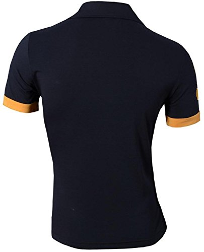 jeansian Mens Dress Casual Slim Fit T-Shirt Kurzarm D313 Blau - Navy