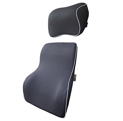 Preisvergleich Produktbild LoveHome Auto Lendenwirbelstütze Rückenpolster und Kissen Hals Kit - Premium Memory Schaum mit Netzabdeckung - Universal Fit Major Autositz -Ideal Auto Rücken Support für Road Trip Driving - (Schwarz)