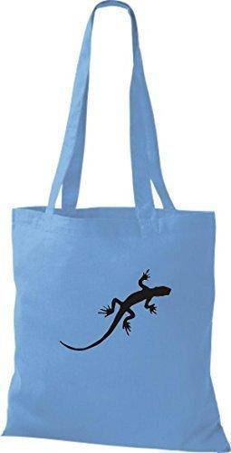 ShirtInStyle Stoffbeutel Gecko Echse Leguan Baumwolltasche Beutel, diverse Farbe surf blue